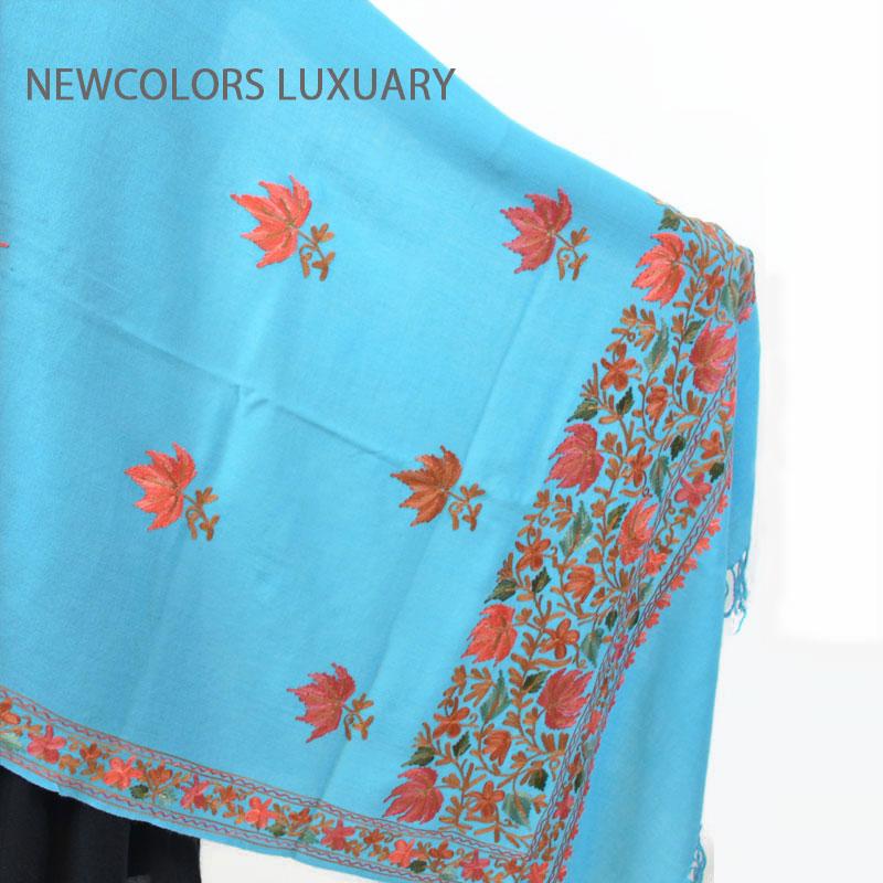 ゴージャス手刺繍インド製 パシュミナ カシミール刺繍入ストール ウール 100% ショール ブルー