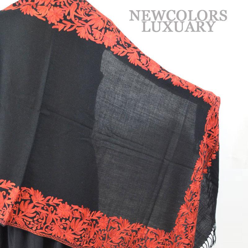 ゴージャス手刺繍インド製 パシュミナ カシミール刺繍入ストール ウール 100% ショール ブラック