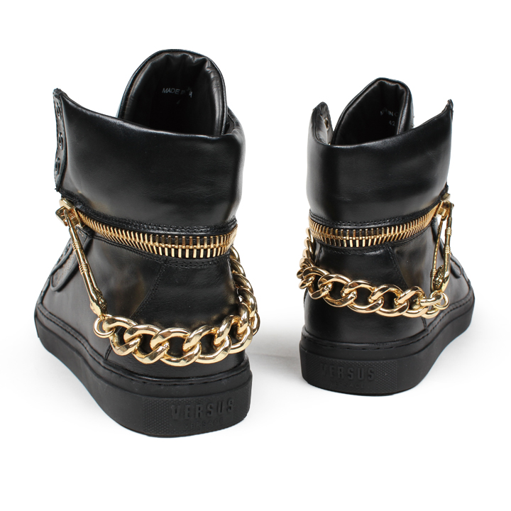 SAFETY PIN CHAIN HI TOP SNEAKER (safety pin chain high top sneakers) [size] 27cm (UK8.5) [color] black gold