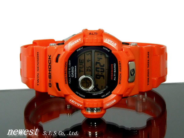 Casio g-shock RISEMAN riseman g-9200R-4 rust structure overseas model Rescue Orange