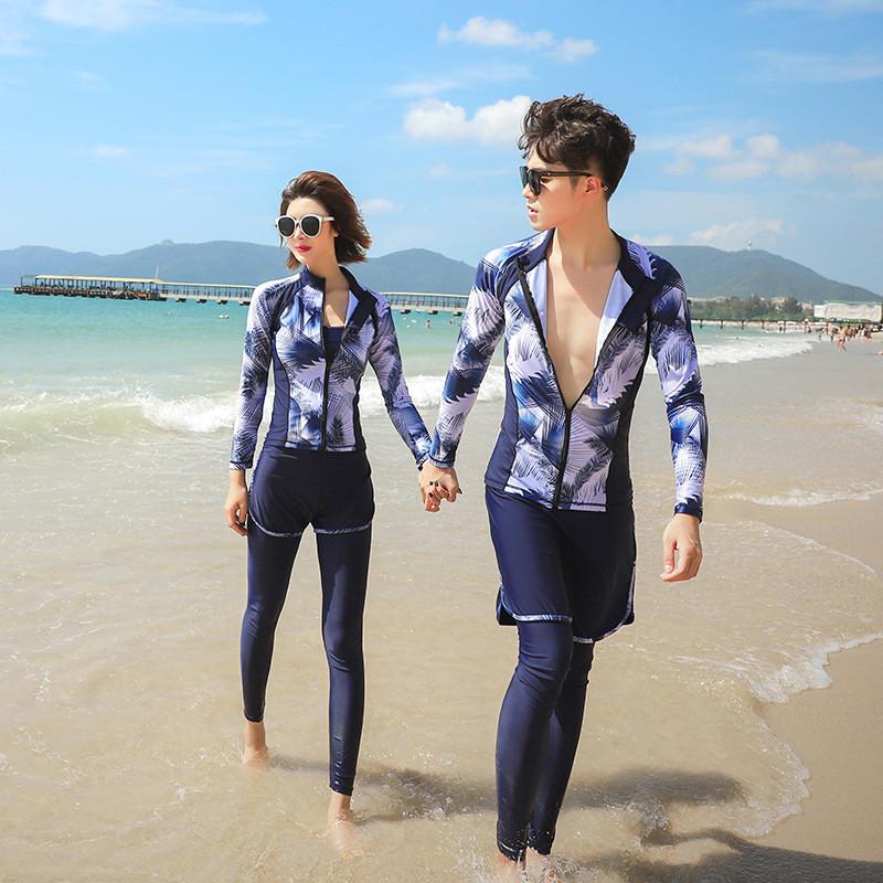 レディース メンズ カップル水着 お揃いコーデ 女性 男性 セット水着 日本製 ウェットスーツ クラゲ サーフィンスーツ 花柄水着 カップル 薄め 商舗 長袖 パンツ