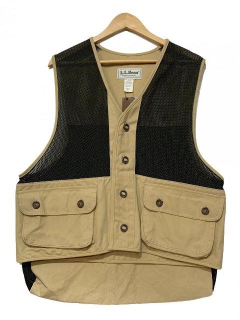 USA製 80s~90s L.L.Bean 訳あり Duck Mesh Fishing Vest ベージュ黒 上等 ハンティングベスト 古着 エルエルビーン フィッシングベスト 中古 メッシュ ダック地 L