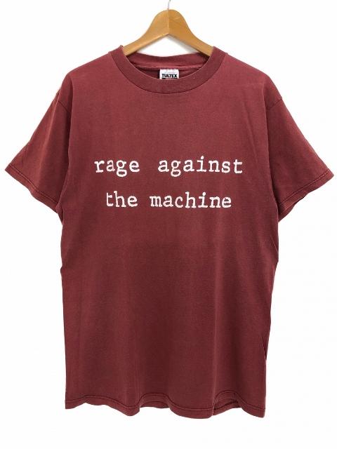 90s RAGE AGAINST THE MACHINE S/S Tee バーガンディ L レイジ・アゲインスト・ザ・マシーン 半袖Tシャツ バンドT 【中古】