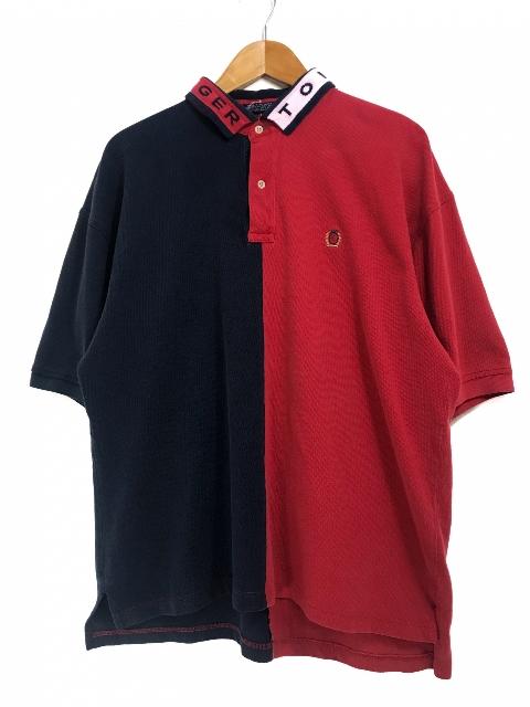 90s TOMMY HILFIGER 2 Tone S/S Polo Shirts 紺赤 XL トミーヒルフィガー 2トーン 切り替え 半袖 ポロシャツトリコロール 【中古】