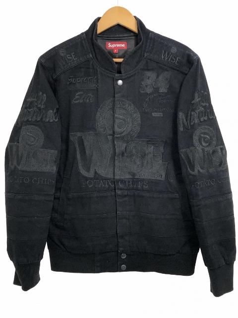 13AW SUPREME × WISE Racing Jacket 黒 S シュプリーム ワイズ レーシングジャケット ロゴ 刺繍 コラボ ブラック 【中古】
