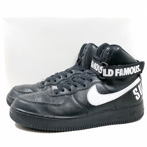 SUPREME X NIKE AIR FORCE 1 HIGH SP black and white US10/28.0  シュプリームナイキエアフォース 1 special 698,696-010 made in 14 years
