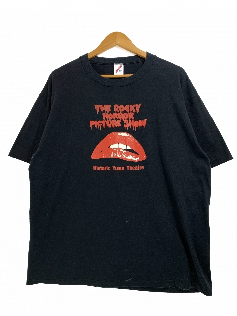 USA製 80~90s THE ROCKY HORROR PICTURE SHOW S/S Tee 黒 XL ロッキーホラーショー 半袖 Tシャツ 映画 ムービーT 唇 プリント JERZEES 【中古】