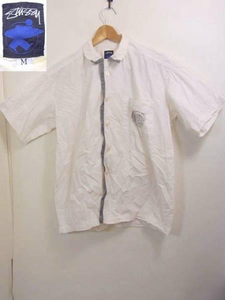 レア★ 80s サーフ 黒タグ OLD STUSSY 半袖シャツ M ステューシー 【中古】