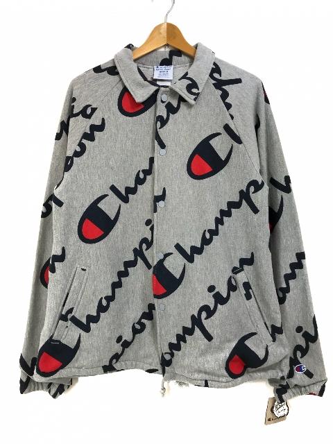 US企画 Champion R/W French Terry Print Jacket (GREY) チャンピオン リバースウィーブ フレンチ テリー プリント ジャケット スウェット コーチ 【新古品・未使用】