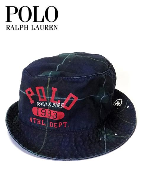 """【送料無料】【あす楽対応】【メンズ バケットハット・グリーンチェック】Polo Ralph Laurenポロ ラルフローレン【S/M L/XL】""""ラルフローレンチェック柄ロゴプリントバケットハット"""""""