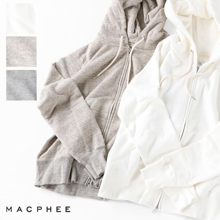 【10%OFF!5月7日午前9時30分までの期間限定セール】MACPHEE(マカフィー) コットンジャージー ジップアップパーカー(12-03-94-03104)