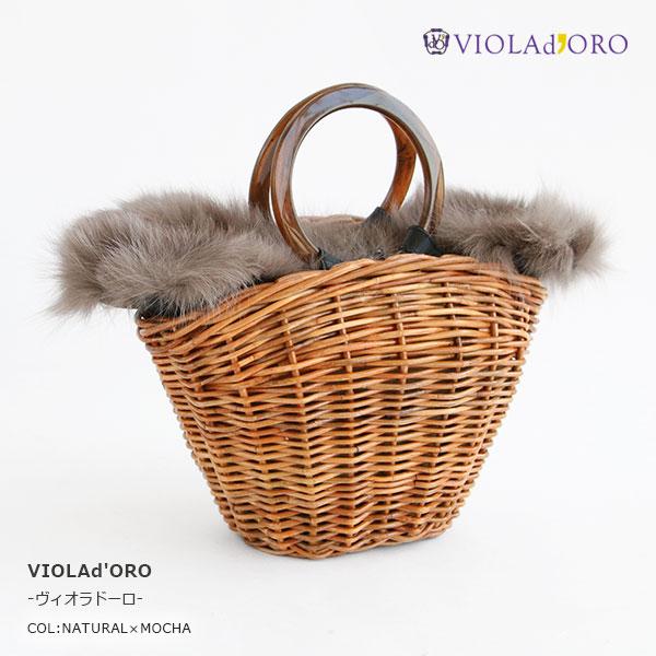 VIOLAd'ORO(ヴィオラドーロ) VOLPE ファー付きかごバッグ (V-8202)