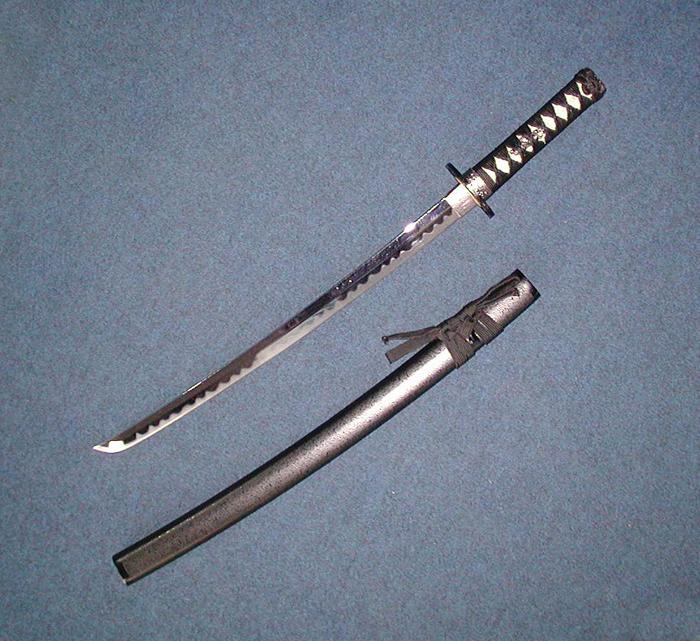 【美術模造刀剣】 黒石目 小刀 AB-110