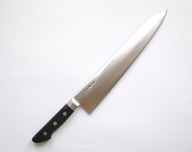 【本匠兼正】 全鋼ツバ付黒柄 牛刀 300mm