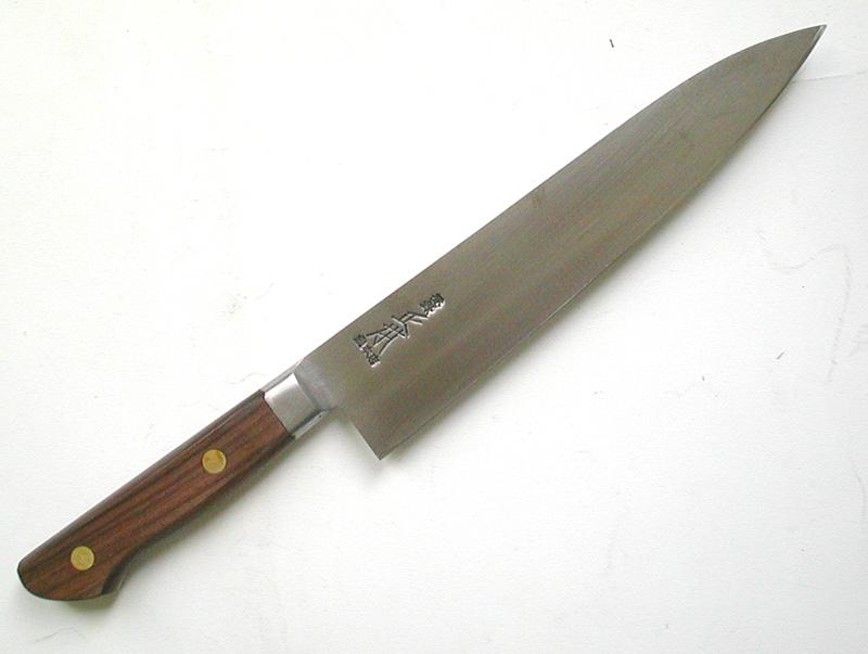 【正本】 紫丹柄ツバ付 牛刀 210mm