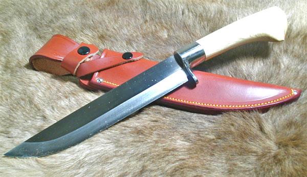 【red orca(レッドオルカ)】 剣鉈 甲伏せ造り 樫ハンドル 革鞘タイプ