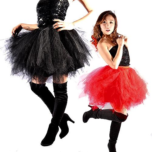 ポイント16倍 ダンス衣装 スカート ダンススカート ボリューム フレアースカート 裏地付き レッド・ブラック