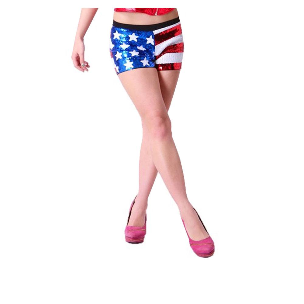 要点16倍的星条旗光亮装饰片短裤表演面包迷你三角裤USA美国国旗花纹嘻哈舞蹈服装