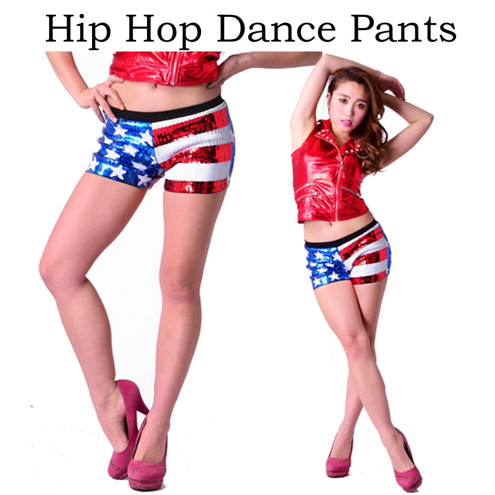 Stars and stripes sequins shorts Chopin hotpants USA American flag pattern  hip hop dance costume