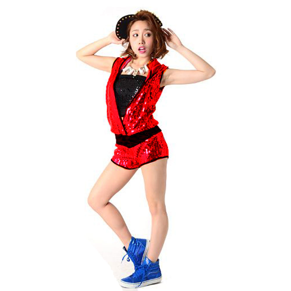 be52c2e2c125 ... Sequined hip hop dance costume pants shorts all-in-one jumpsuit  overalls one- ...