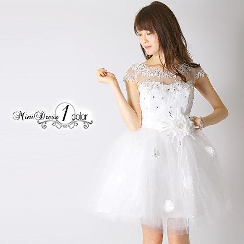 ポイント16倍 ドレス ワンピース パーティー 結婚式 半袖 フレア ひざ丈 ホワイト