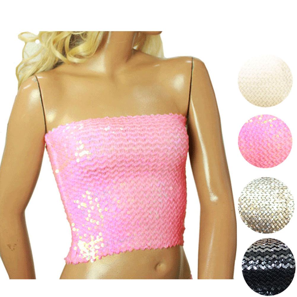 セール あす楽 売れ筋 スパンコール チューブトップ ダンス衣装 シルバー 新作製品、世界最高品質人気! ピンク グラデーション 安全 ホワイト