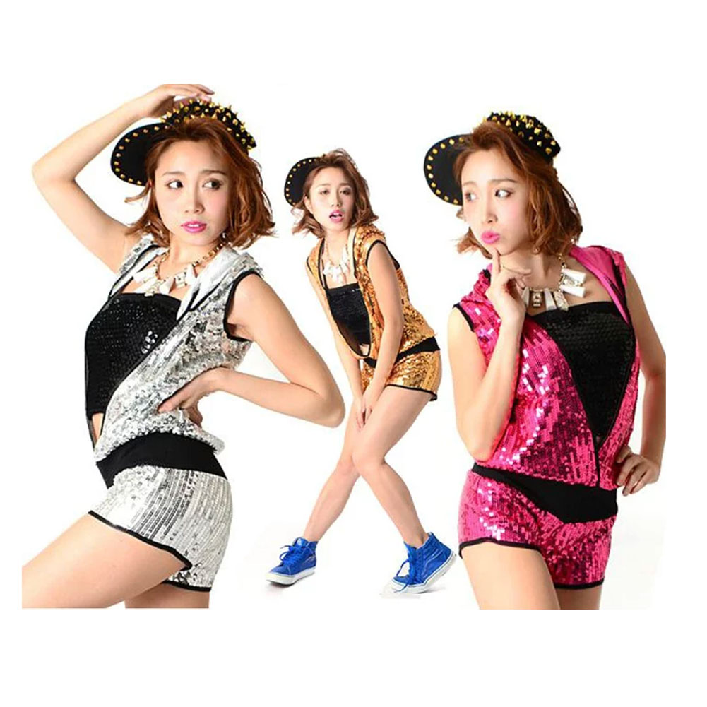 51ba80a5ccbb Sequined hip hop dance costume pants shorts all-in-one jumpsuit overalls one-  ...