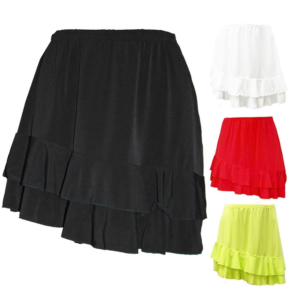 あす楽 ランキングTOP5 セール ネコポス可 スカート フィットネス 売却 ダンスウェア ショート丈 ひざ上 ストレッチジャージー フリル付き