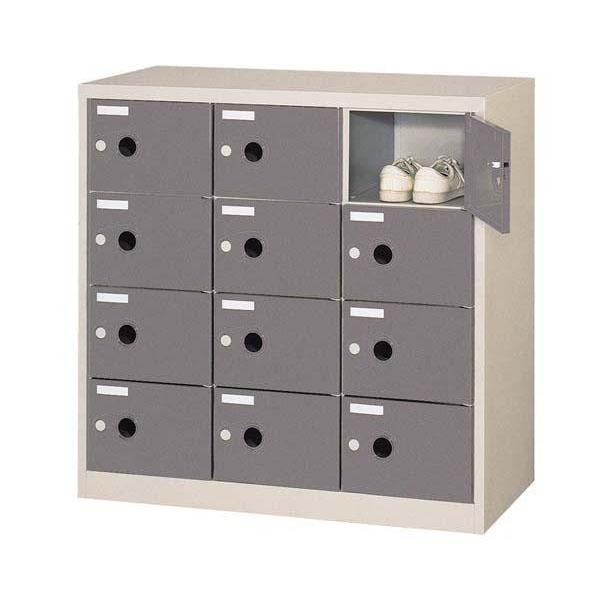 シューズロッカー 扉付・錠なしタイプ 棚板なし ダークグレー COM-SC-12P 1058875