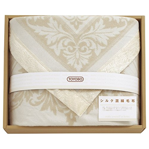東洋紡 ジャガードシルク混綿毛布(毛羽部分) 8672