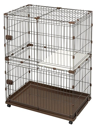 アイリスオーヤマ コンビネーションサークル ブラウン 2段 W93×D65cm×H122 P-CS-932 / ペット ペットグッズ 犬用品
