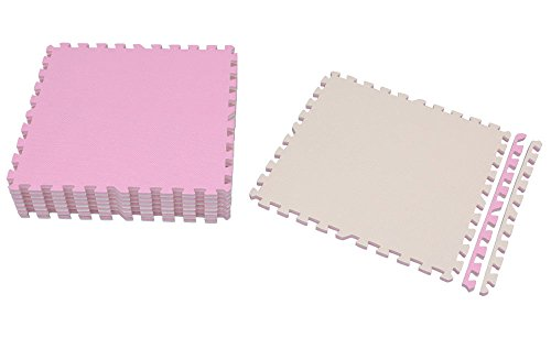 アイリスオーヤマ ジョイントマット 60×60cm 16枚セット ピンク/ベージュ 極厚1.8cm JTMR-68 / インテリア カーペット・ラグ・マット
