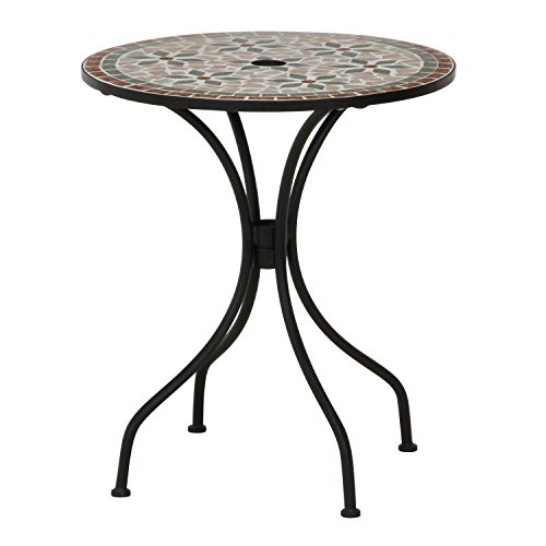 不二貿易 ガーデン モザイク柄 テーブル フラワー セラミック製 ブラウン 10657