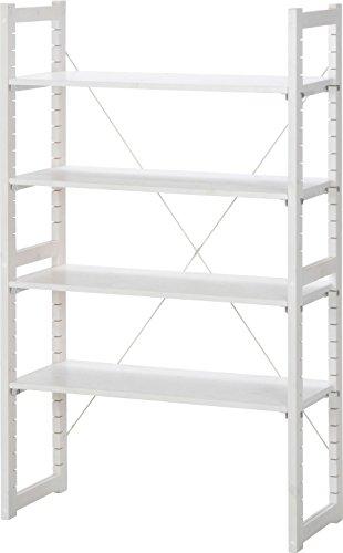 不二貿易 パインラック バリア 4枚棚板 高さ150cm ホワイトウォッシュ 20076 ラック フリーラック ディスプレイラック 整理棚 木製 ウッドラック シンプル おしゃれ