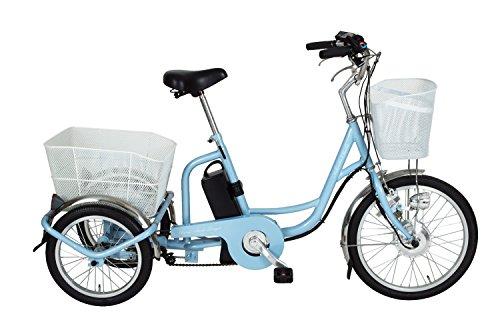 【ワイヤーロック付】ミムゴ(MIMUGO) アシらくチャーリー 電動アシスト三輪自転車 MG-TRM20EB ライトブルー