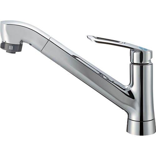 三栄水栓 節約・エコ シングルワンホールスプレー混合栓 取付簡単タイプ 引出シャワー式