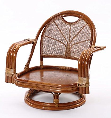 ラタン ワイド回転座椅子 ミドルタイプ (ブラウン)