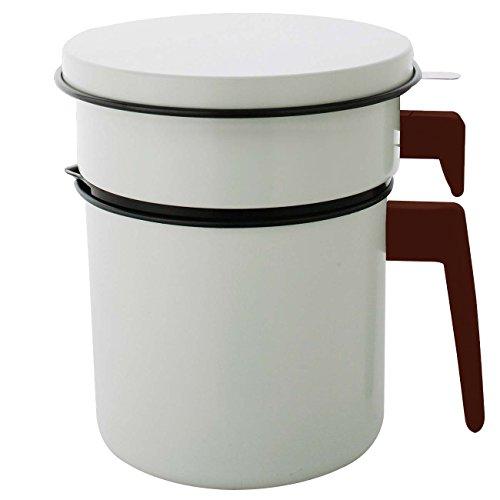 アイリスオーヤマ オイルポット 活性炭 1200ml カートリッジ1個付 白 H-OP1200 / キッチン用品 調理小道具 容器