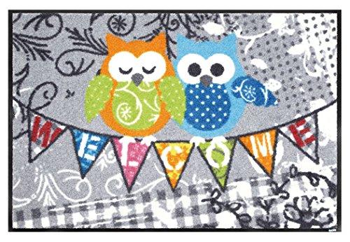 クリーンテックス 玄関マット 『 wash + dry (ウォッシュアンドドライ) Animal + Friends / Welcome Owls / 50×75cm / G022A 』 エントランスマット