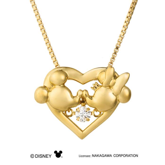 ペンダント Heart Kiss NDP-003Y ディズニー 0146502-30003 クロスフォー / 女の子 子供 キレイ かわいい ベネチアン ベネチアンチェーン イエローゴールドメッキ 金 ミッキーマウス ミニーマウス ディズニー ハート キス KISS