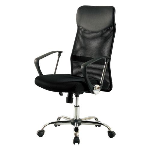 メッシュバックチェア 肘付 昇降機能付 オフィスチェア オフィスチェアー デスクチェア パソコンチェア パソコンチェアー ロッキング機能 椅子 いす イス キャスター ハイバック ★ メッシュバックチェア / KHC-935H-BK ★