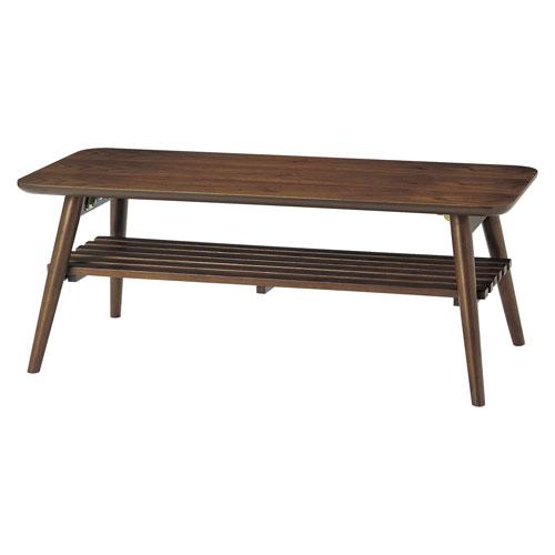 折りたたみ センターテーブル 幅100cm木製 ローテーブル ソファテーブル 机 テーブル 北欧風 シンプル 木目 棚付き 折りたたみ ロータイプ リビングテーブル 天然木 居間 おしゃれ ★ slan センターテーブル / SLA-1045-WT ★