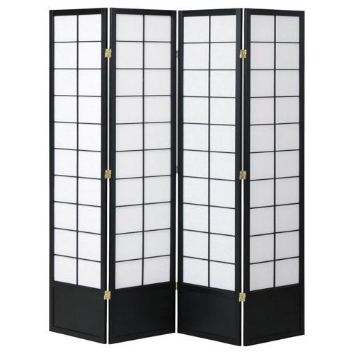 koeki 和風衝立4連 ブラック 高さ180cm JP-S180-4(BK) ★ 和風衝立4連 / JP-S180-4-BK ★ パーテーション 衝立 パーティション