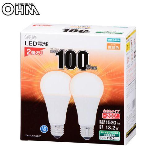 【まとめ買い5個】OHM LED電球 E26 100形相当 全方向 密閉形器具対応 電球色 2個入 LDA13L-G AG5 2P