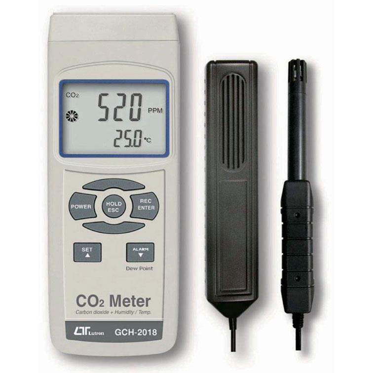 マザーツール CO2濃度計 GCH-2018 二酸化炭素濃度測定器 温度測定・アラーム機能付き / 実験に最適なプローブ搭載型CO2濃度計