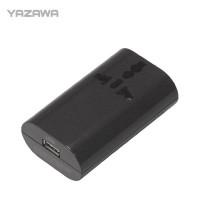 【6個セット】YAZAWA 海外用マルチ変換プラグ USB付 ブラック HPM4BK