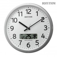 リズム時計 RHYTHM 電波掛け時計 プログラムカレンダー01SR チャイム付き シルバー色 4FNA01SR19 / 時間管理に役立つプログラムチャイム機能付電波クロック。