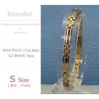 MARE(マーレ) スワロフスキー&ゲルマニウムブレスレット PG/IP ミラー 137S 17cm H9300-09S 1053828 / スワロフスキーが輝くシンプルで上品なブレスレット。