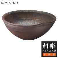 三栄水栓 【信楽焼】 手洗器 利楽 茜(あかね) / 信楽焼の素朴さが映える、手洗鉢。