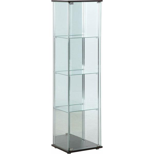 ガラスコレクションケース 4段 背面ミラー付き ブラウン fj-96046